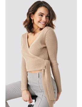 Kopertowy Sweter W Prążki Beżowy by Na Kd