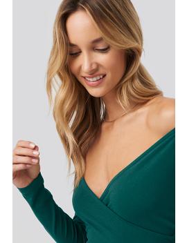 Bardot Wrap Front Crop Top Zielony by Pamelaxnakd
