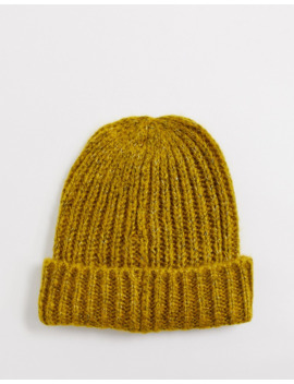 French Connection Ribbed Beanie Hat In Mustard Marl by French Connection