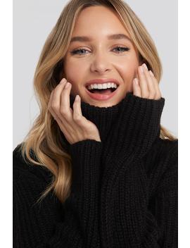 Big Turtleneck Knitted Sweater Czarny by Adorablecaroxnakd