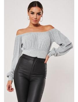 Petite Grey Jersey Ribbed Milkmaid Bodysuit by Missguided