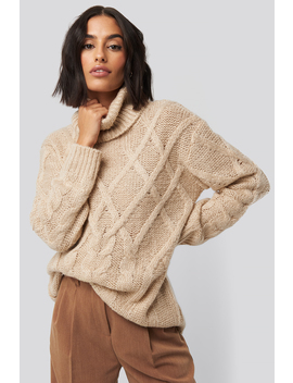 Cable Knitted High Neck Sweater Beżowy by Na Kd