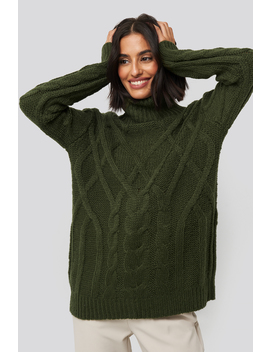 Cable Knitted High Neck Sweater Zielony by Na Kd