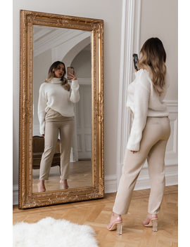 Highwaist Shiny Suit Pants Beżowy by Adorablecaroxnakd
