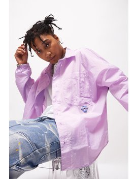 Oversized Lilac Nylon Long Sleeve Shirt by Jaded London