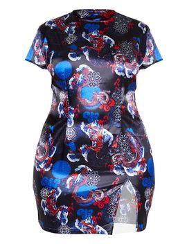 Plus Black Oriental Split Detail Shift Dress  by Prettylittlething