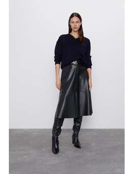 Faux Leather Skirt With Belt Midi Skirts by Zara