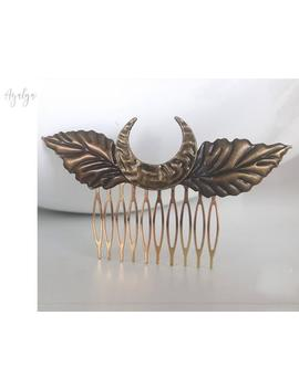 Bronze And Gold Hair Comb With Leaves And Crescent Moon Metal   Elven Forest Haircomb   Gold Leaves Haircomb   Gold Leaves Hair Clip   Hair by Etsy