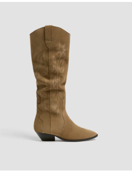 Stivali Color Sabbia Stile Cowboy In Pelle by Pull & Bear