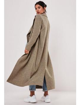 Brown Check Oversized Formal Coat by Missguided