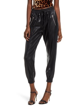 Running Wild Faux Leather Track Pants by Blanknyc