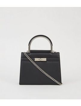 Black Mini Belted Tote Bag by New Look