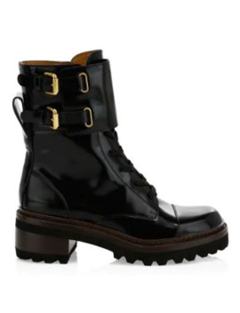 Mallory Leather Combat Boots by See By Chloé
