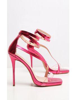 Pink Metallic Square Toe Asymmetric Strap Sandal by Prettylittlething
