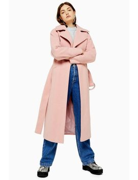 Tall Pink Belted Herringbone Coat by Topshop