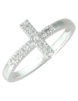 Silver Plated Cubic Zirconia Sideways Cross Ring   Size 7 by Target