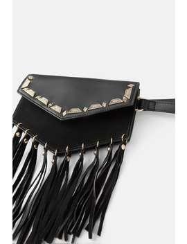 Leather Crossbody Belt Bag With Tassels by Zara