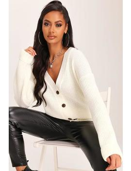 Cream Knitted Button Front Cardigan by I Saw It First