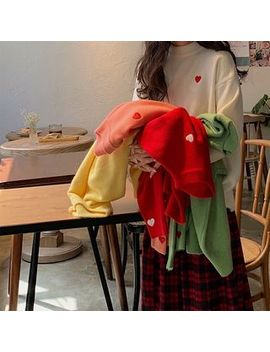Cerauno   Mock Neck Heart Embroidery Sweater by Cerauno