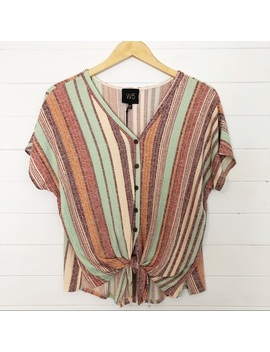 Anthropologie W5 Striped Tie Front Top Size LargeNwt by Anthropologie