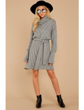 Ready Willing And Cable Knit Grey Sweater Dress by Aura