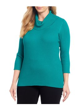 Plus Size 3/4 Sleeve Cowl Neck Ribbed Knit Pullover by Peter Nygard