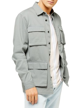 Sage Classic Fit Long Shirt Jacket by Topman