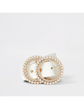 White Pearl And Diamante Double Ring Belt by River Island