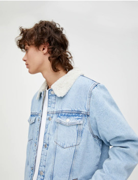 Denim Jacket With Contrast Faux Shearling Collar by Pull & Bear