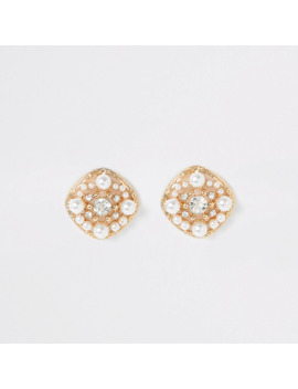Gold Colour Pearl Embellished Stud Earrings by River Island