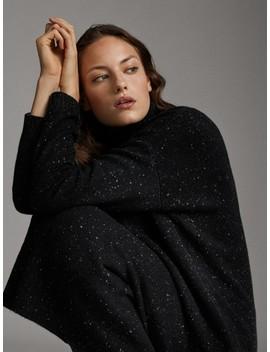 Knickerbocker Yarn Effect High Neck Wool And Cashmere Sweater by Massimo Dutti