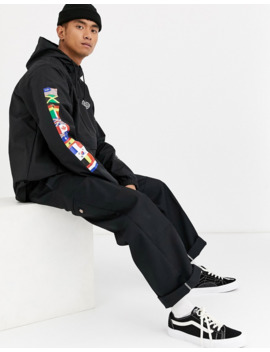 Huf World Tour Anorak Jacket With Arm Print In Black by Huf