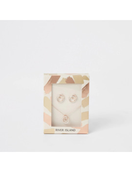 Rose Gold Necklace And Earrings Gift Set by River Island