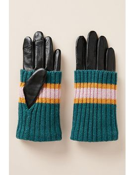 Knit Cuff Leather Gloves by Becksondergaard