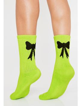 Neon Bow Socks by Lazy Oaf