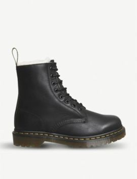 1460 Serena 8 Eye Leather And Faux Shearling Boots by Dr. Martens