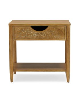 Bohemian Carved Wood Nightstand By Drew Barrymore Flower Home by Drew Barrymore Flower Home