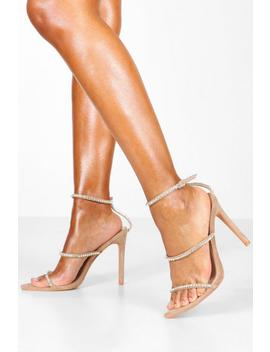 Diamante Clear 3 Strap Sandals by Boohoo