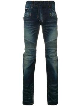 Biker Jeans Met Toelopende Pijpen by Balmain