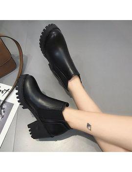 Classique   Platform Block Heel Short Boots by Classique