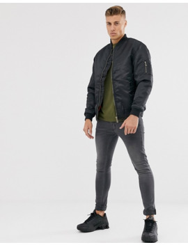 Soul Star Padded Bomber Jacket In Black by Asos