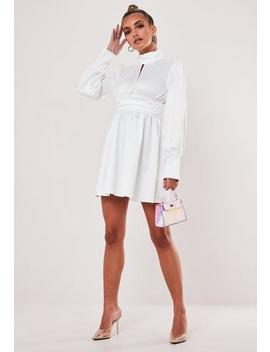 Cream Satin High Neck Skater Dress by Missguided