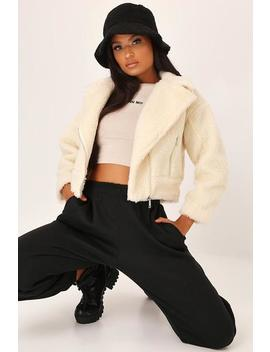 Cream Cropped Borg Aviator Jacket by I Saw It First