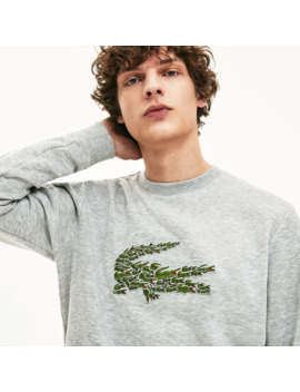 Men's Crew Neck Multi Croc Badge Fleece Sweatshirt by Lacoste