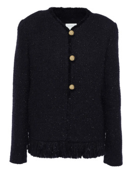Fringe Trimmed Metallic Tweed Jacket by Sandro