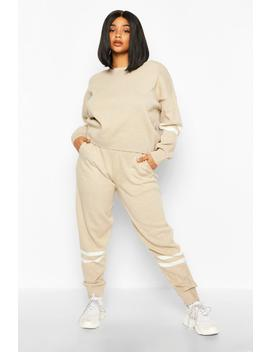 Plus Stripe Detail Knitted Set by Boohoo
