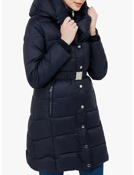 Monsoon Laurel Belted Padded Coat, Navy by Monsoon