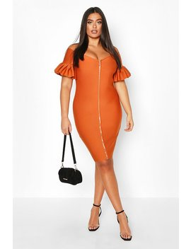 Plus Sculpt Bandage Bardot Zip Midi Dress by Boohoo