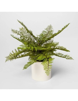 "15"" X 14.5"" Artificial Fern Arrangement In Ceramic Pot White/Green   Threshold™ by Threshold"