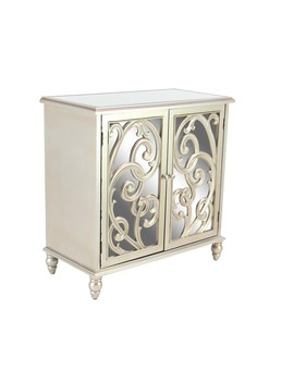 """Decmode   Small Gold Wood Cabinet With Decorative Mirrors, 32"""" X 32"""" by Dec Mode"""